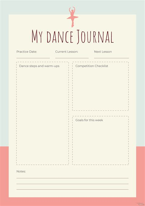 dance journal template  adobe photoshop