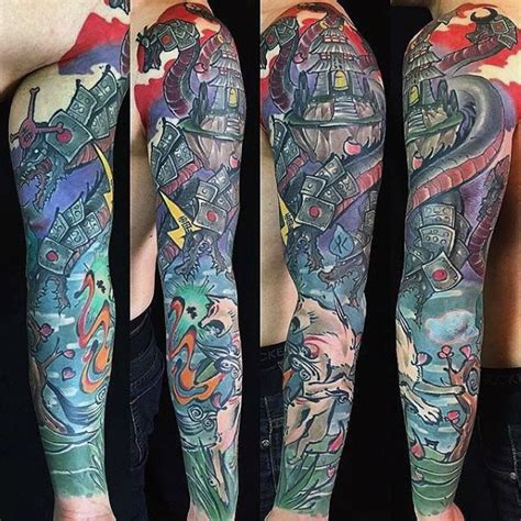 fresh gaming sleeve tattoo   man woman tattoo