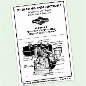 Briggs And Stratton 6fbc Engine Operators Repair Part Manual Service Owners  U0026 Bs