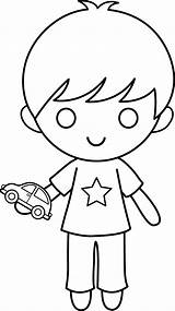Boy Coloring Clip Toy Clipart Kid Sweetclipart sketch template