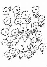 Kitten Coloring Pages Flowers Printable Flower Bed Kitty Sheets sketch template