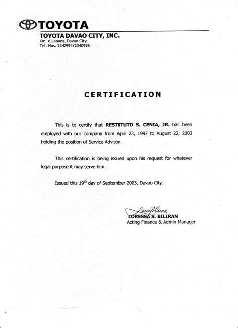 employment certificate sample word template design