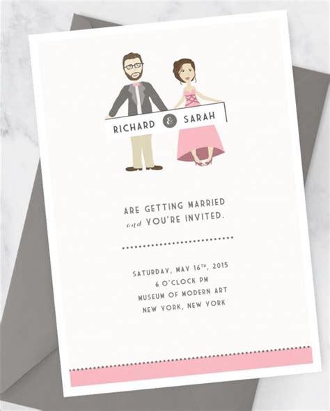 Wedding Invitation Kit With Custom Couple Illustration