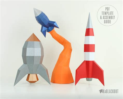 Rocket Papercraft Bundle Offer Rocket Template Pack Diy