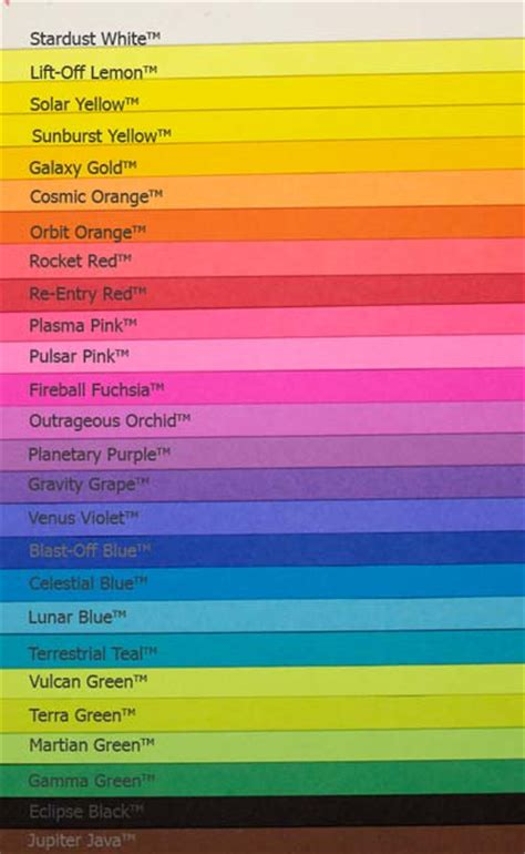 Wausau Astrobrights Color Chart | ℂ⋆O⋆ℒ⋆O⋆ℝ⋆S | Pinterest