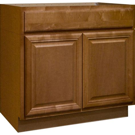 hampton bay cambria assembled xx  accessible sink base kitchen cabinet  harvest