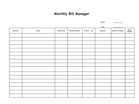 list of bills to pay template bill paying archives s professional organizing for kingwood houston