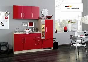Küche 180 Cm : single k che 180 cm rot mit einbauk hlschrank und sp le ~ Watch28wear.com Haus und Dekorationen