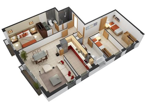 "50 Three ""3"" Bedroom Apartment/house Plans"