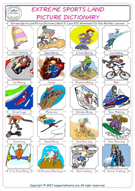 extreme sports land esl printable english vocabulary
