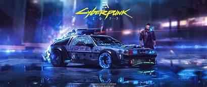 Cyberpunk Delorean Dmc Arts Vaporwave Cars Future