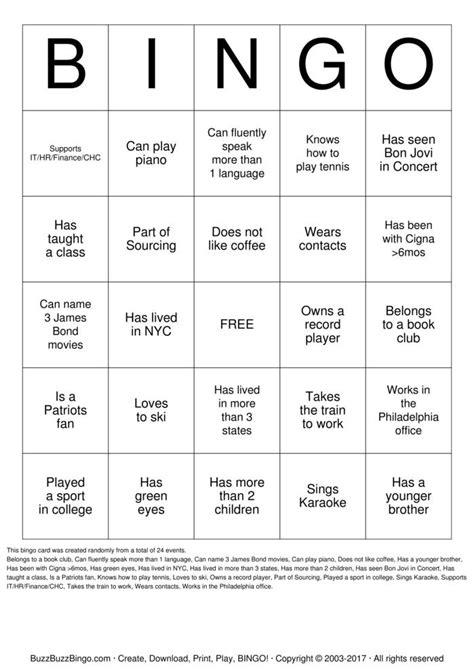 Ice Breaker Bingo Print