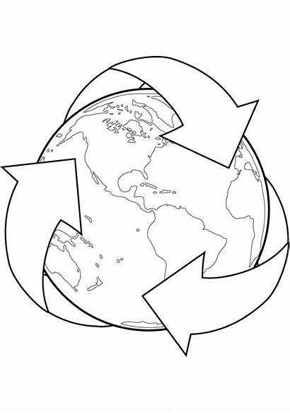 Earth Recycle Coloring Recycling Pages Printable Sign