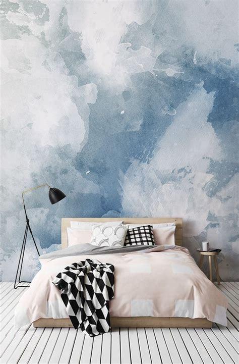 papier peint fresque degrade daquarelle bleu  blanc