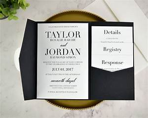 real diy wedding invitation classic black white pocket With pockets for wedding invitations diy