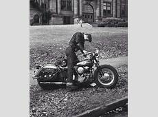 #men #motorbikes 1950s Greaser leaving high school and