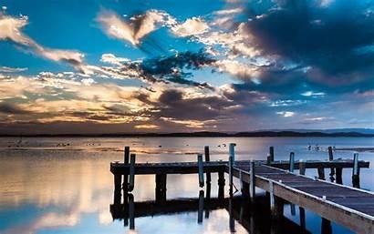 Dock Lake Pier Wallpapers Background Sunset Lakes