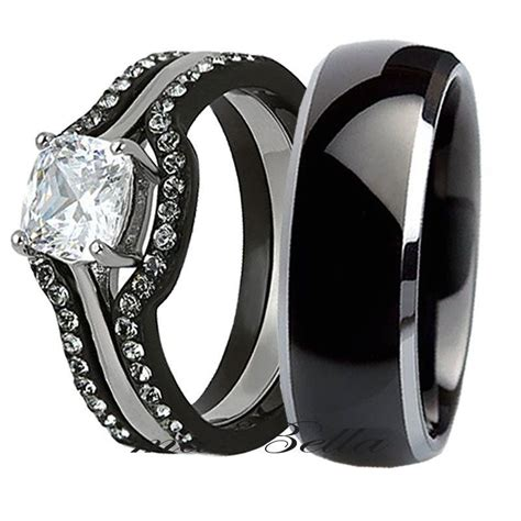 His Tungsten Her 4 Piece Black Stainless Steel Wedding. Fukang Wedding Rings. Baby Carriage Rings. Boy Engagement Rings. Onion Rings. Over Top Wedding Rings. Brown Topaz Rings. Candy Colored Diamond Engagement Rings. Commitment Rings