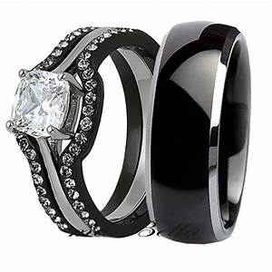 his titanium hers 4 pcs black stainless steel wedding With black wedding ring sets his and hers