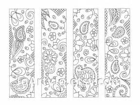 printable coloring bookmarks paisley zentangle inspired sheet