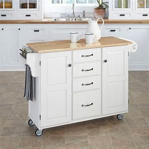 Home, Styles, Create-a-cart, White, Kitchen, Cart, With, Natural, Wood, Top-9100-1021
