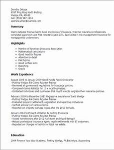 claims adjuster trainee resume template best design With entry level insurance adjuster resume