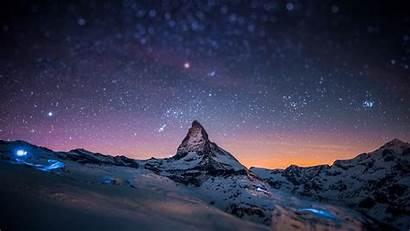 Sky Night Wallpapers Snowy Snow Mountain Stars