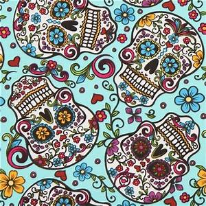 turquoise flower skull fabric Folkloric Skulls USA - Fabric