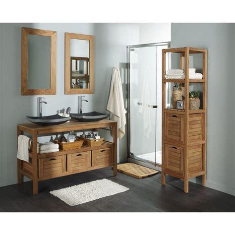 meuble sous vasque en teck naturel surabaya l125xh75 8xp50cm 3 tiroirs leroy merlin salle