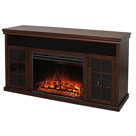 lowes electric fireplace shop style selections 57 in w 5 115 btu walnut wood and