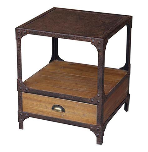 rustic industrial table l luca reclaimed wood rustic iron industrial loft side table