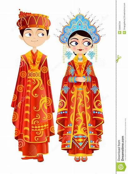 Chinese Couple Illustration Vector Cartoon Bride Traditional