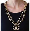"""Chanel Yellow Vintage 28 Season (Collection) Row Faux Pearl & Crystal Large Logo Pendant 30"""" Necklace - Tradesy"""