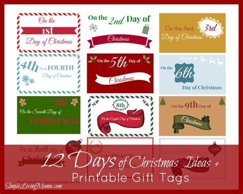 the 12 days of christmas ideas printable gift tags
