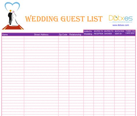 blank wedding guest list template dotxes