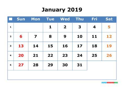 printable calendar  january  week number