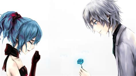 anime love couple boy giving rose to cry girl wallpaper