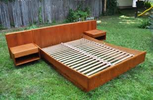 platform bed  attached nightstands google search