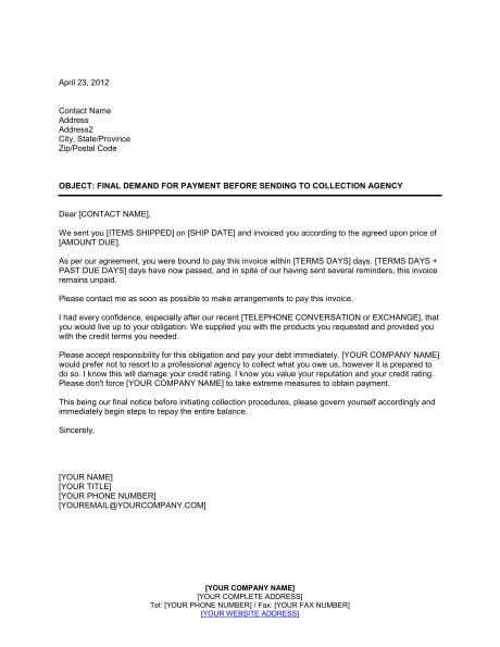 collection letter template collection letter before sending to agency template 11219