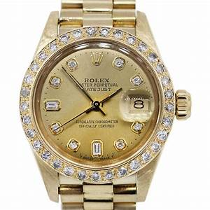 18K Gold Rolex 6927 Ladies Datejust Presidential Diamond Watch