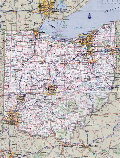 large detailed roads  highways map  ohio state