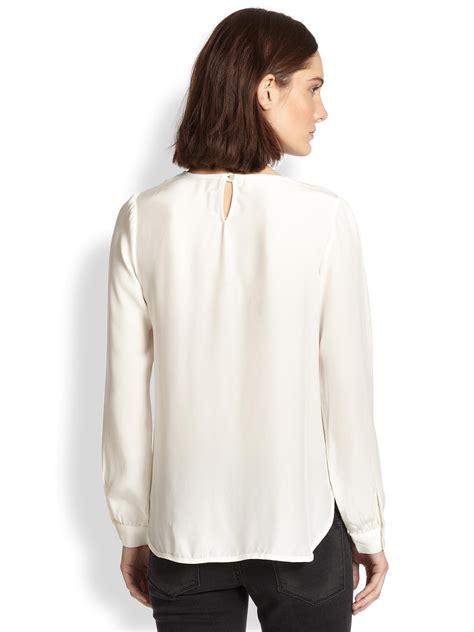 silk charmeuse blouse frame le drape silk charmeuse blouse in white lyst
