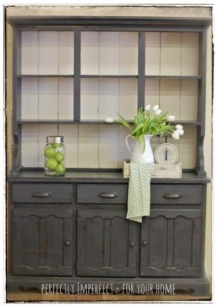 painted kitchen hutches anniesloan chalk painted hutch makeover graphite with