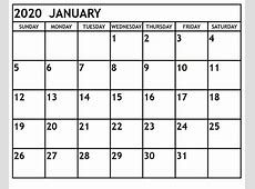 January 2020 Calendar PDF, Excel, Word {Download} Free