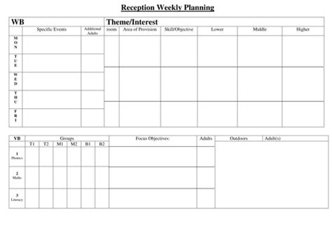 weekly planning sheet reception hyssoppuppy teaching resources