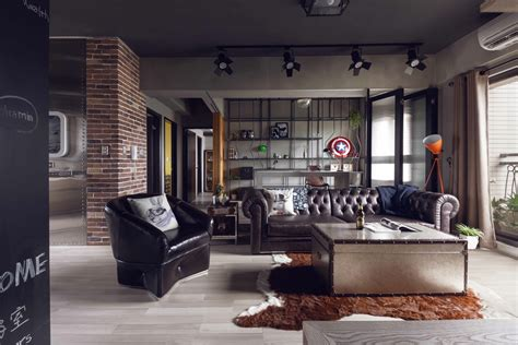 An Industrial-Inspired Apartment With Sophisticated Style : Industrial Style Living Room Design
