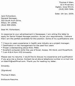 marketing project manager cover letter examples With cover letter for a project manager position