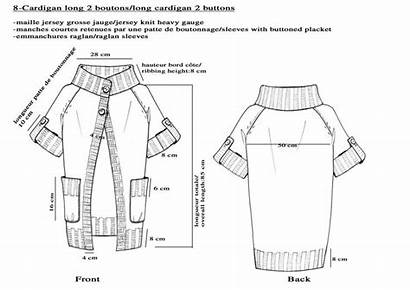 Cardigan Drawing Sweater Technical Flat Knitting Buttons
