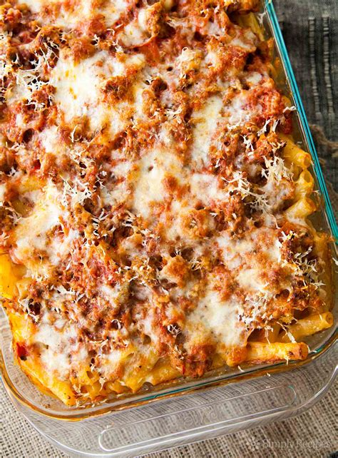 baked ziti with baked ziti recipe simplyrecipes com