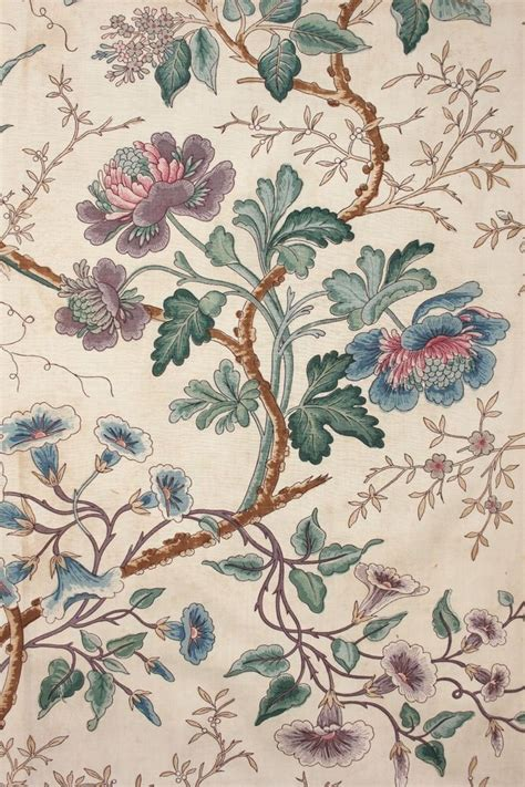 antique french printed chintz fabric indienne